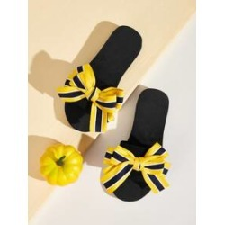 Striped Bow Decor Flat Sliders found on Bargain Bro India from Sheinside for $6.00