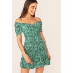 Off Shoulder Wrap Front Ruffle Hem Ditsy Floral Dress