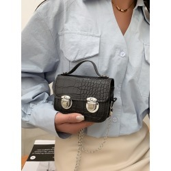 Mini Croc Embossed Push Lock Chain Bag found on Bargain Bro from SHEIN for USD $5.89
