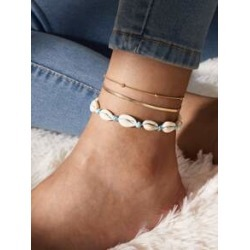 2pcs Shell Decor Layered Anklet found on Bargain Bro India from Sheinside for $2.00