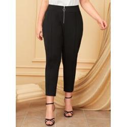 Plus Zip Front Skinny Pants