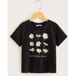Girls Daisy and Slogan Print Tee found on Bargain Bro from SHEIN for USD $7.01