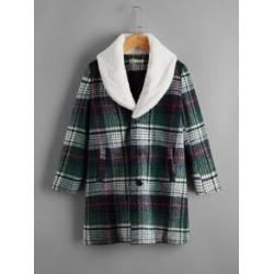 Boys Faux Shearling Collar Plaid Tweed Overcoat
