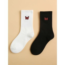 2pairs Butterfly Embroidery Socks