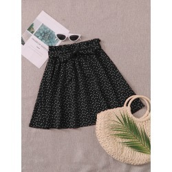 Confetti Heart Print Paperbag Waist Belted Skirt found on Bargain Bro from SHEIN for USD $6.41