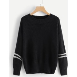 Drop Shoulder Varsity Striped Sweater