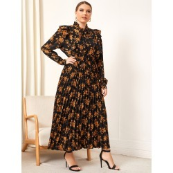 Plus Allover Floral Tie Neck Pleated Dress