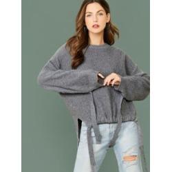Crew Neck Tie Hem And Sleeve Pullover Sweater