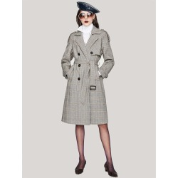 Double Button Belted Plaid Pea Coat found on Bargain Bro Philippines from SHEIN for $68.42