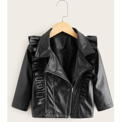 Toddler Girls Ruffle Trim Zip-up PU Leather Biker Jacket found on Bargain Bro from SHEIN for USD $17.56