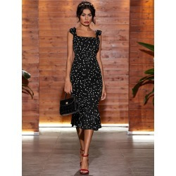 Self Tie Shoulder Polka Dot Fishtail Dress found on Bargain Bro Philippines from SHEIN for $20.72