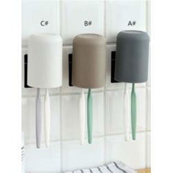 1pc Wall Mounted Gargle Cup & Toothbrush Holder