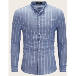 Men Stand Collar Striped Shirt