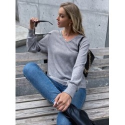 Heathered Rib-knit V Neck Tee found on Bargain Bro from Sheinside for USD $10.64