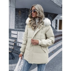 Contrast Faux Fur Hooded Puffer Coat
