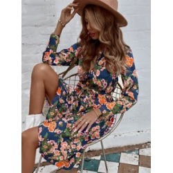 All Over Floral Print Button Front Belted Shirt Dress found on Bargain Bro from Sheinside for USD $15.20