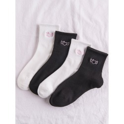 4pairs Heart Embroidery Socks