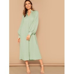 Frilled Neck Raglan Sleeve Pleated Hijab Dress