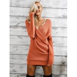 Simplee Drop Shoulder Wrap Sweater Dress