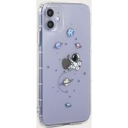 Astronaut & Planet Print Transparent iPhone Case