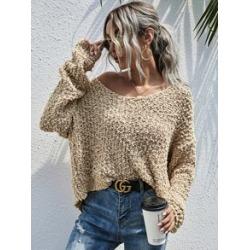 Popcorn Knit Boat Neck Sweater