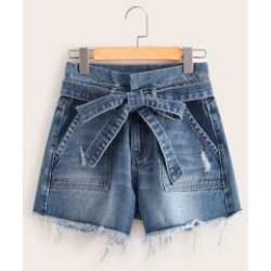 Bleached Wash Raw Hem Belted Denim Shorts