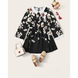 Girls Peter Pan Collar Floral Print Belted Dress found on Bargain Bro Philippines from SHEIN for $20.72
