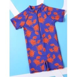 Toddler Boys Crab Print One Piece Swimsuit found on Bargain Bro from Sheinside for USD $6.84