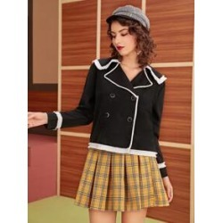 Contrast Binding Double Breasted Jacket