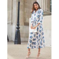 Floral Print Notch Collar Self Belted Shirt Dress