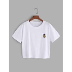 Pineapple Embroidered Patch T-shirt found on Bargain Bro India from SHEIN for $8.82