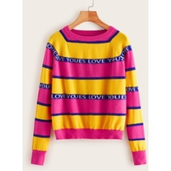 Letter Print Striped Sweater