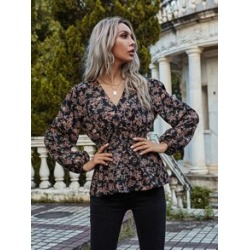 All Over Floral Print Surplice Neck Peplum Blouse found on Bargain Bro from Sheinside for USD $9.88