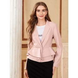 Lapel Neck Ruffle Hem Blazer found on Bargain Bro from SHEIN for USD $16.97
