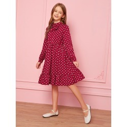 Girls Bow Detail Ruffle Hem Polka Dot Dress found on Bargain Bro from SHEIN for USD $17.56