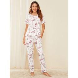 Flamingo Print Pajama Set