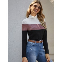 Rolled Neck Cut-and-sew Waffle Knit Tee found on Bargain Bro from SHEIN for USD $8.42
