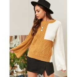 Two Tone Cable Knit Sweater