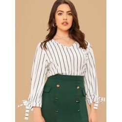 Plus Knot Cuff Striped Top found on Bargain Bro India from Sheinside for $11.00