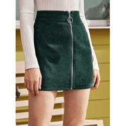 Zip Up Mini Corduroy A Line Skirt
