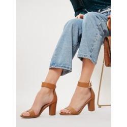 Almond Toe Ankle Strap Block Heel Sandals