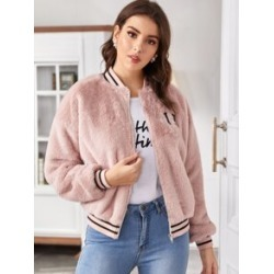 Embroidered Letter Striped Trim Faux Fur Baseball Jacket found on Bargain Bro India from Sheinside for $29.00