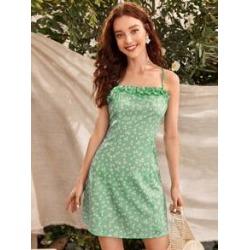 Ditsy Floral Frill Trim Cami Dress