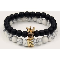 2 pieces Men Crown Decor Beaded Bracelet found on Bargain Bro India from SHEIN for $8.08