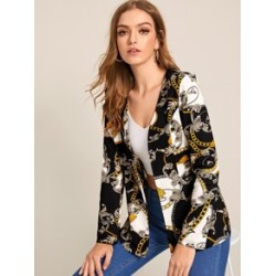 Scarf Print Open Front Blazer found on Bargain Bro Philippines from Sheinside for $16.00
