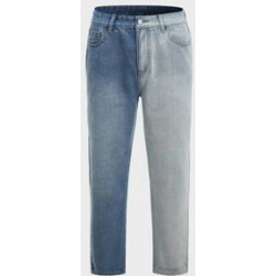 Men Colorblock Straight Leg Jeans