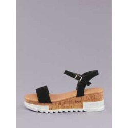 Buckle Ankle Cork Platform Lug Sole Sandals