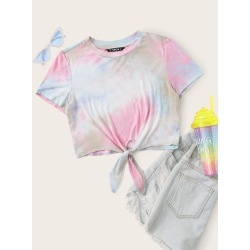 Knot Hem Tie Dye Top found on Bargain Bro India from SHEIN for $8.82