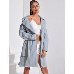 Raw Hem Raglan Sleeve Wrap Belted Denim Coat