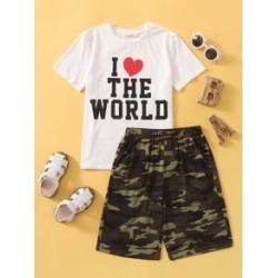 Boys Letter Graphic Tee & Camo Shorts Set found on Bargain Bro Philippines from Sheinside for $15.00